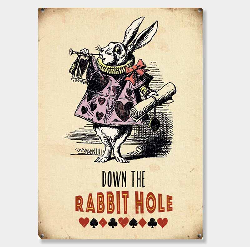 Down the rabbit hole sign