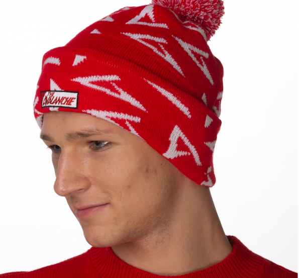 Avalanche red bobble beanie 1